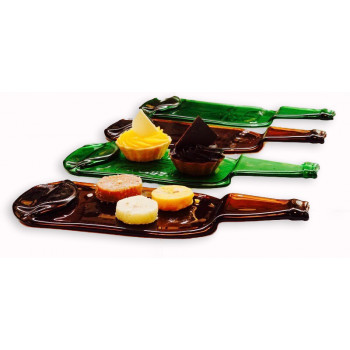 Appetizer Plate - Set of 4 - 2 GREEN 2 BROWN