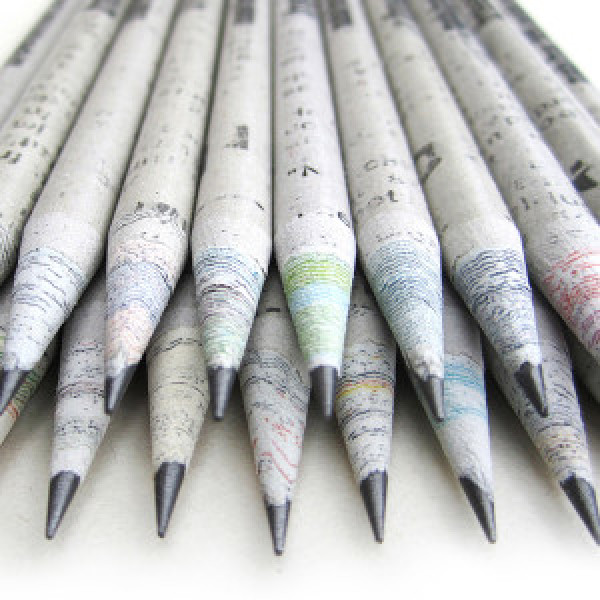 Recycled Newspaper pencil (Pack of 10 pencils with Free Sharpener and Eraser)