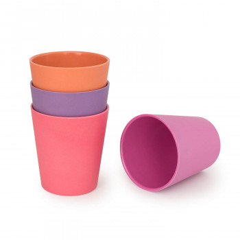 Set of 4 Bamboo Kids Drinking Cups, Stackable & Reusable - Sunset