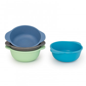 Set of 4 Bamboo Kids Snack Bowls, Stackable & Reusable - Coastal