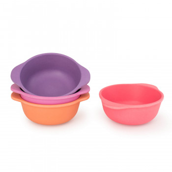 Set of 4 Bamboo Kids Snack Bowls, Stackable & Reusable - Sunset