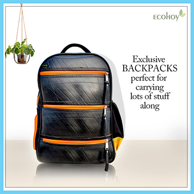 recycled tire tube backpack